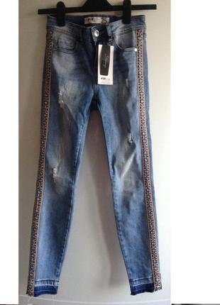 #розвантажуюсь джинсы skinny fit с лампасами вышивкой 25 xs