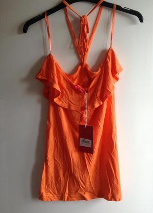 Апельсиновый топ с рюшем воланом открытыми плечами s