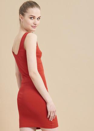 Sale летнее красное платье футляр в мелкий рубчик terranova s m