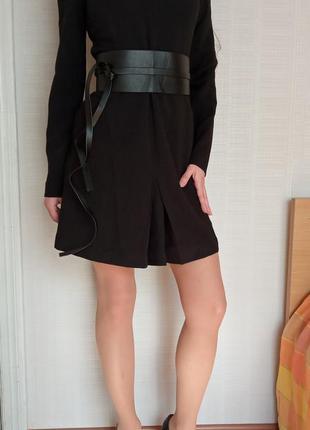 Sale черное  офисное платье с юбкой - трапеция love republic xs s
