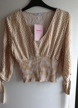 Нюдовая блуза блузка с объемными рукавами zara cropp xs