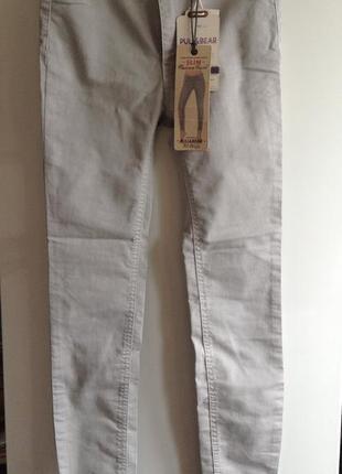 Серые зауженные джинсы скинни zara pull&bear xs s