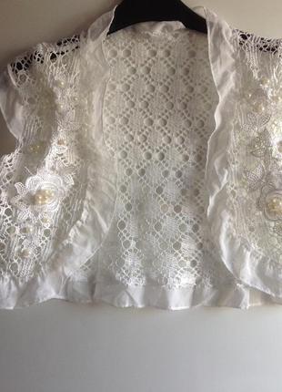 Sale белая кружевная накидка жилетка болеро с вышивкой жемчуго...