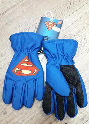 Перчатки-краги на флисовой подкладке superman синие