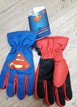Перчатки-краги на флисовой подкладке superman синие с красным