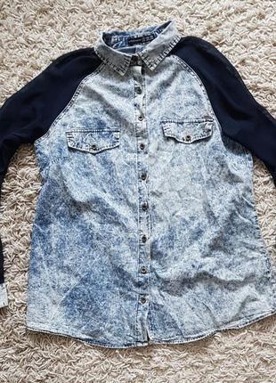 Стильная рубашка шыфоновые рукава оригинальная в идеальном сос...