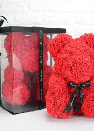 Мишка из 3D роз 25 см в красивой подарочной упаковке мишка Тедди