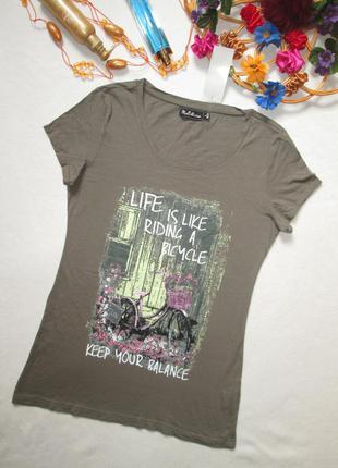 Суперовая хлопковая стильная футболка цвета хаки с рисунком и ...
