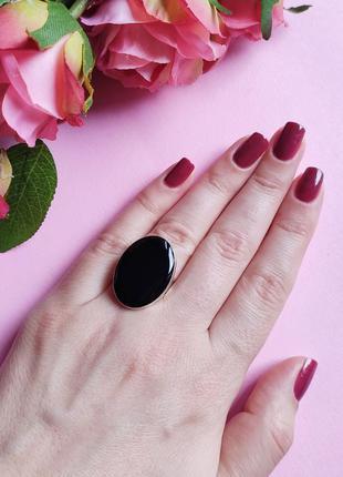 Кольцо черный овал