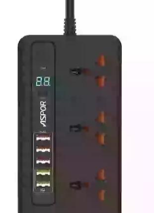 СЗУ удлинитель 220V REMAX RM-WK08 3 розетки 4 USB Сетевой фильтр-