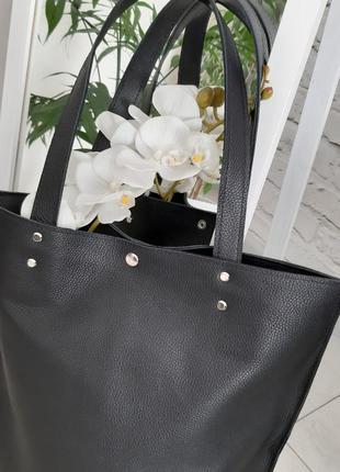 Кожаная сумка шоппер из натуральной кожи флотар