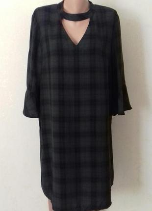 Вискозное платье с принтом клетка большого размера f&f