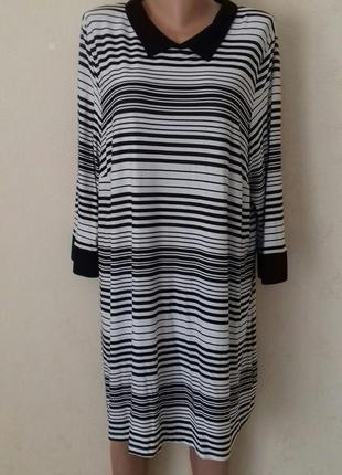 Вискозное трикотажное платье с принтом полоска большого размера