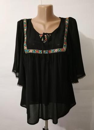 Красивая блуза с вышивкой этно стиль george uk 12/40/m