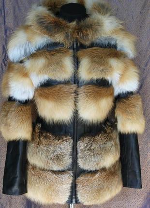 Курточка жилетка трансформер натуральная кожа плюс лиса