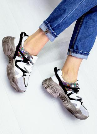 Кроссовки серые р35-40 белые на платформе кросівки сірі білі н...