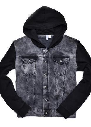 Джинсовка мужская h&m denim hooded. размер xl