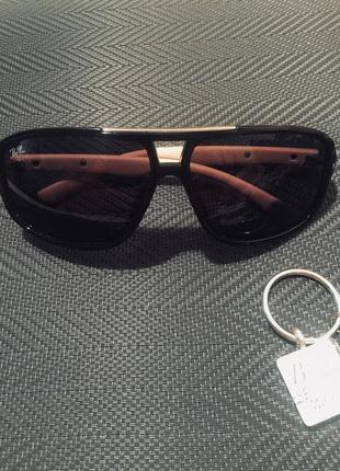 Очки ray ban солнцезащитные чёрные кофейные дужки