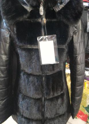 Курточка пуховик трансформер кожа плюс норка все размеры