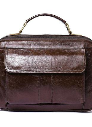 Сумка мужская горизонтальная из кожи vintage 20027 коричневая