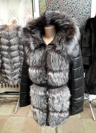 Курточка пуховик трансформер натуоальная кожа чернобурка