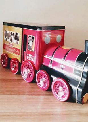 Жестяная коробка для подарков или сладостей Паровоз