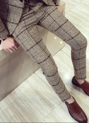 Мужские брюки клетчатые в английском стиле скинни skinny