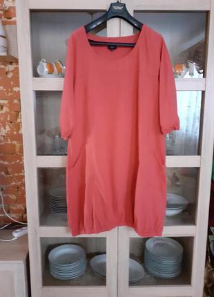 Суперовое котоновое с карманами платье большого размера