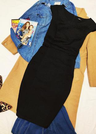 M&co чёрное платье миди футляр карандаш на подкладке плотное к...