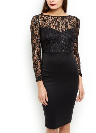 Чёрное вечернее платье футляр миди карандаш с пайетками ax paris