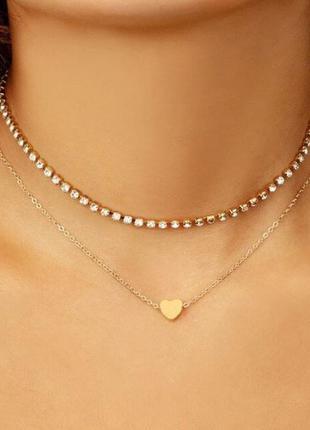 Двойное ожерелье чокер с подвеской сердце золотистого цвет