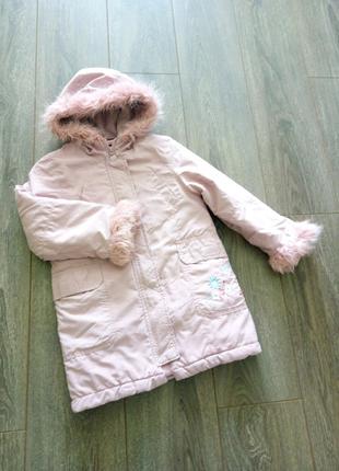 Деми розовая удлиненная прямая куртка глубокий капюшон с мехом