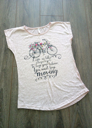 Нежная розовая пудра футболка с принтом велосипед цветы Турция