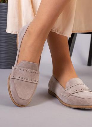 Женские туфли без каблука бежевые