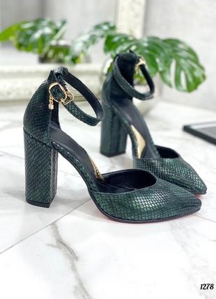 Женские туфли 👠 на высоком каблуке зелёные