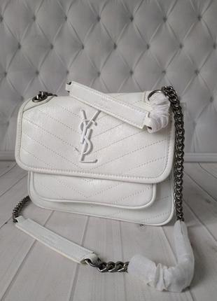 Натуральная кожаная женская белая  сумка ysl