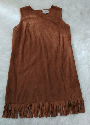 Замшевый сарафан платье миди большого размера