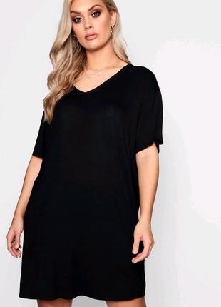 Натуральное свободное платье футболка большого размера батал