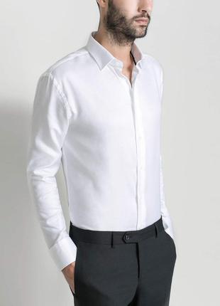 Рубашка белая zara slim fit
