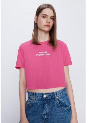 Розовая короткая футболка zara