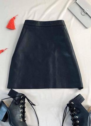 Стильная юбка под кожу экокожа трапеция от river island