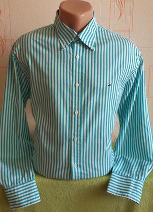Оригинальная белая рубашку в бирюзовую полоску tommy hilfiger ...