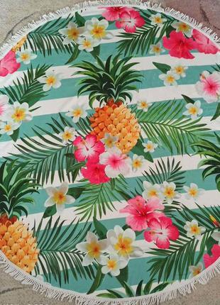 """Пляжный круглый коврик, подстилка, покрывала""""ананас"""""""