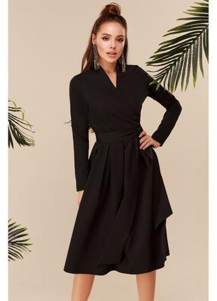 Платье черное длинный рукав и с пышной юбкой демисезонное с по...
