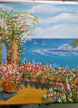 Картина пейзаж акрилом на холсте