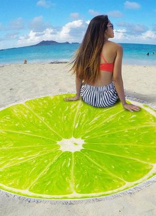 """Пляжный круглый коврик, подстилка, покрывала""""лайм"""""""