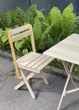 Раскладной стул со спинкой с натурального дерева