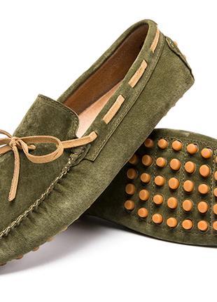 Дизайнерская замшевая кожаная мужская повседневная обувь на шнуро