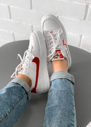 Стильные женские кроссовки nike air force white/red