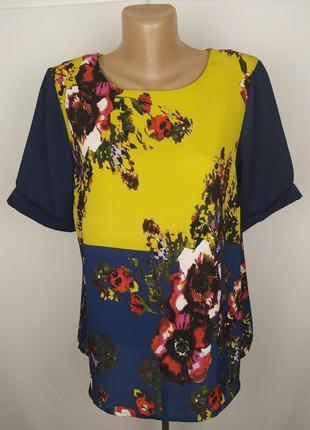 Блуза шикарная легкая в цветочный принт uk 12/40/m